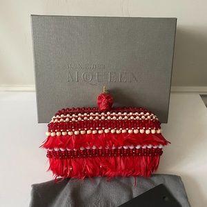Alexander McQueen red skull Mohawk clutch